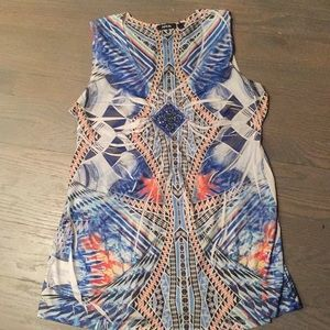 Geo design tank top, blue, orange, white